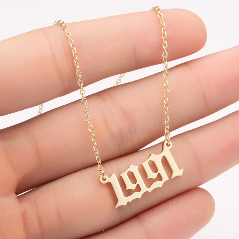 Bohemian English Number Letter Necklace Stainless Steel Chain Necklace for Women Birthday Gift Personalized Birth Year Necklaces 3