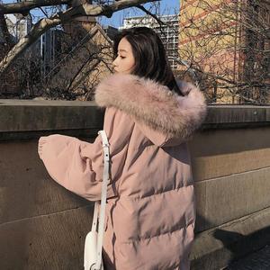 Image 3 - Długa kurtka zimowa kobiety Parka luźne ciepłe grube dół bawełna płaszcz kobiet wyściełane Oversize Student z kapturem kobieta kurtka zimowa Q2028