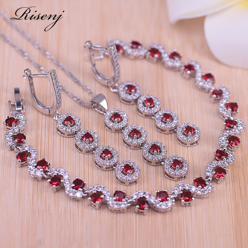 Risenj Lucky Colors Red Cubic Zirconia Silver Color Jewelry set For Women Earrings Necklace Bracelet Set Engagement Present