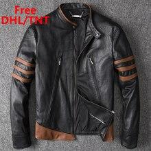 Men's Genuine Leather Jacket Men Motorcycle Pilot Bomber Jacket