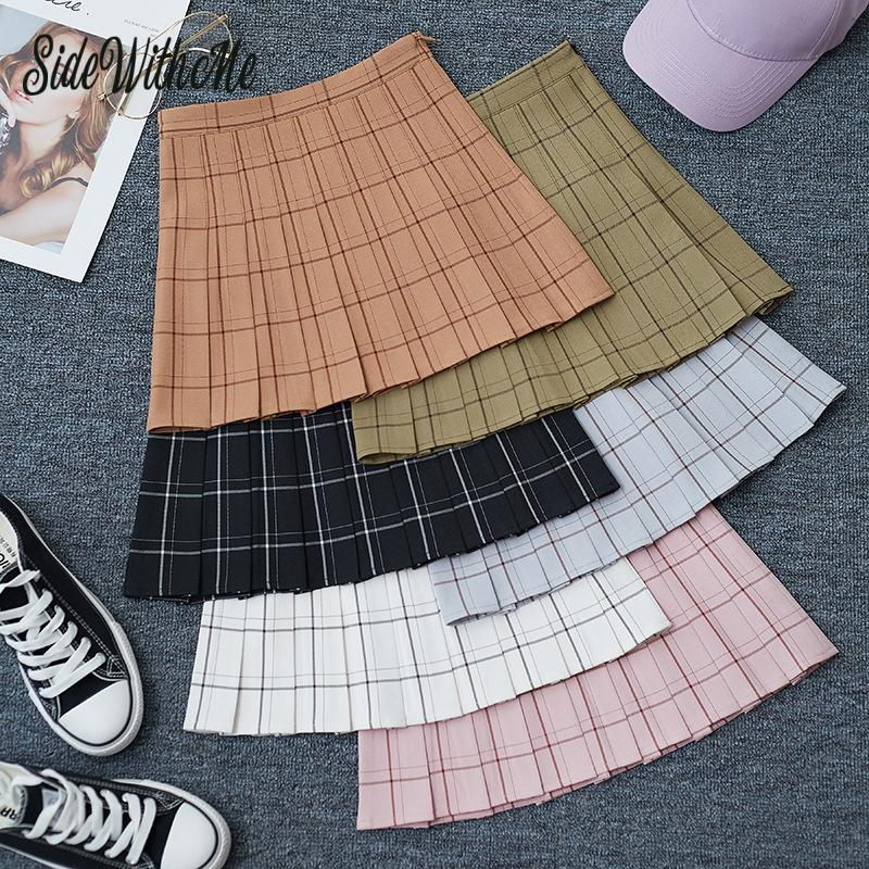 Sweet Women Pleated Skirt Fashion Plaid A-Line Mini High Waist Chic Skirt Kawaii Summer Casual Ladies Plaid Pleated Skirt