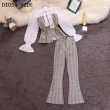 Осень, стиль, OL темперамент, круглый вырез, рукав в форме листа лотоса, сшитая клетчатая рубашка, раздельные расклешенные брюки, костюм для женщин