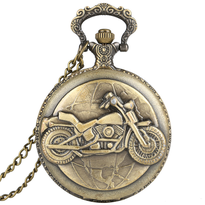 3D Bronze Motorcycle Pocket Watch Men With Necklace Chain Retro Fob Watches Women Pendant Clock Gift Reloj Enfermera