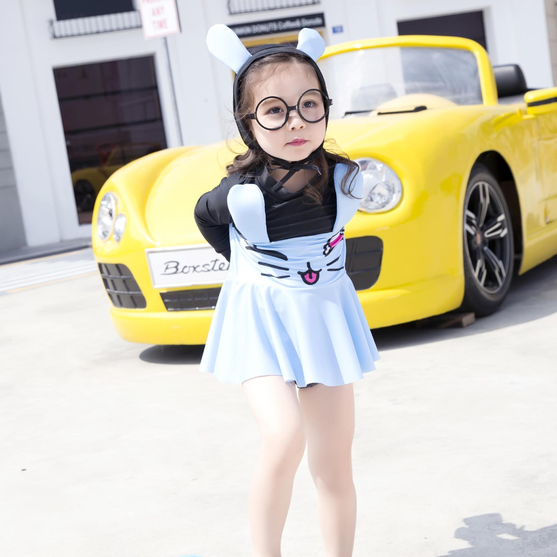 KID'S Swimwear GIRL'S Princess Dress-Set South Korea Long Sleeve Sun-resistant Bathing Suit With Hat Girls Split Type Boxers