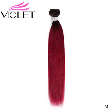 VIOLET Straight Medium Ratio 8-24 Inch Non-Remy Peruvian Ombre Red Hair Bundles T1B/Burgundy 100% Human Hair Extension Dark Root - DISCOUNT ITEM  43% OFF All Category