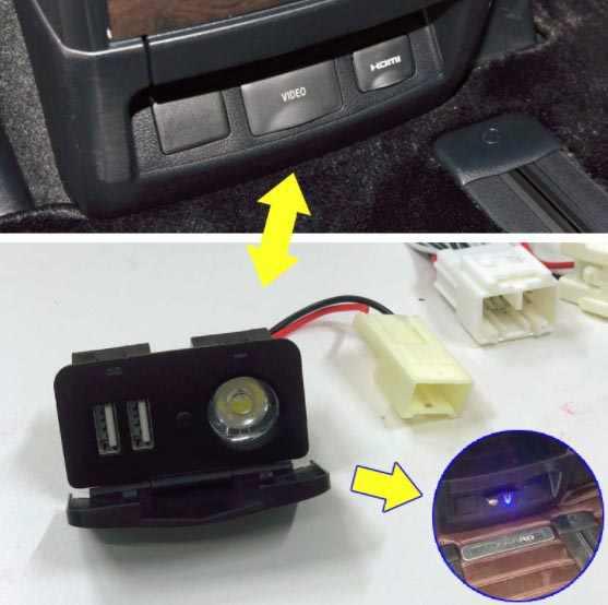 สำหรับ alphard vellfire 30 ดัดแปลง USB ชาร์จพอร์ตอินเทอร์เฟซ led