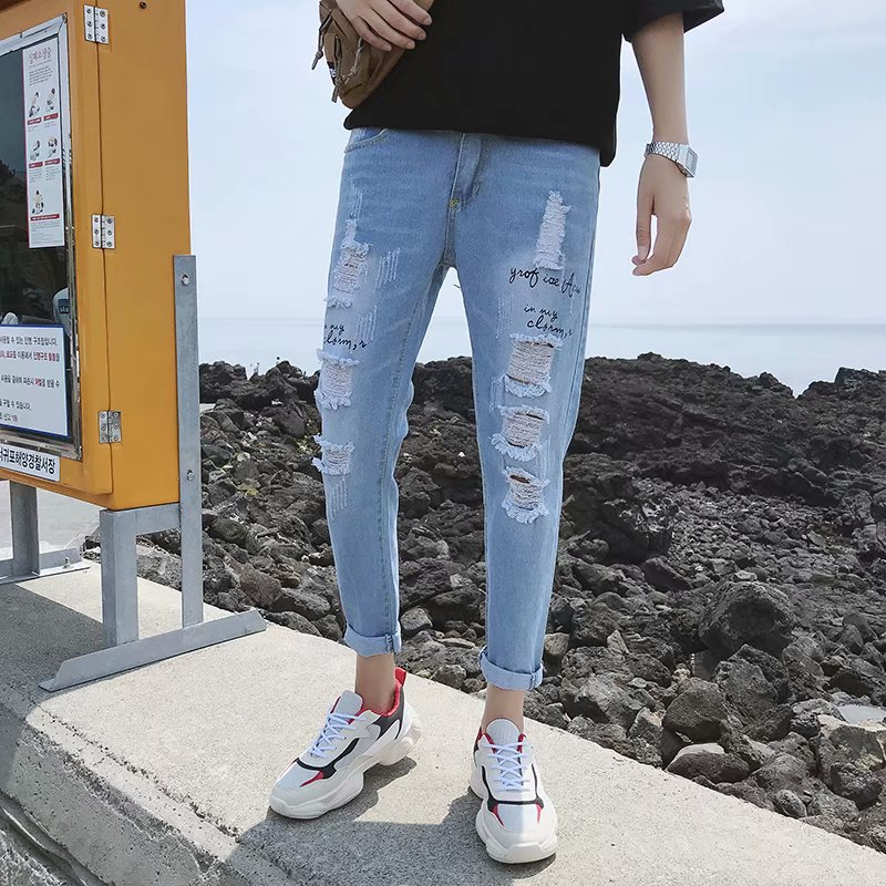 Summer Thin Section Jeans Men's 2018 New Style Korean-style Slim Fit Pencil Pants Jeans Fashion With Holes Capri Pants