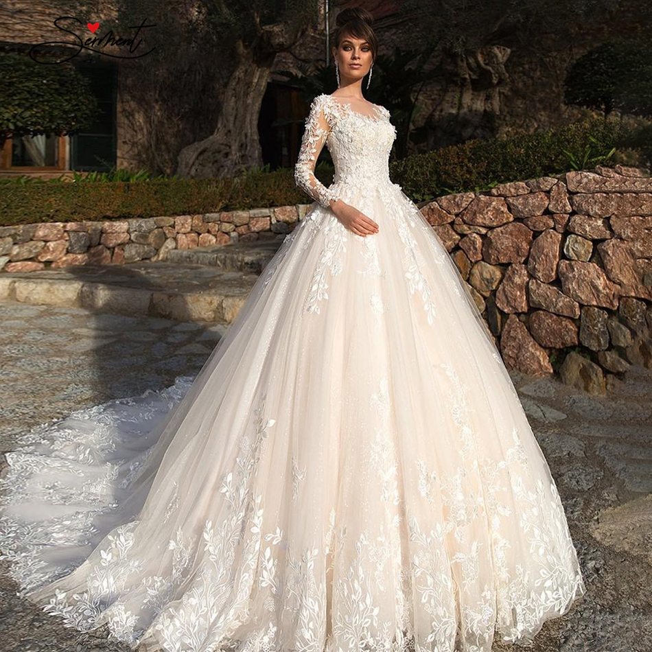 OLLYMURS 2020 Luxury  Long Sleeve Applique Lace Crew Neck Wedding Dress For French Brides And Muslims Support Tailor-made