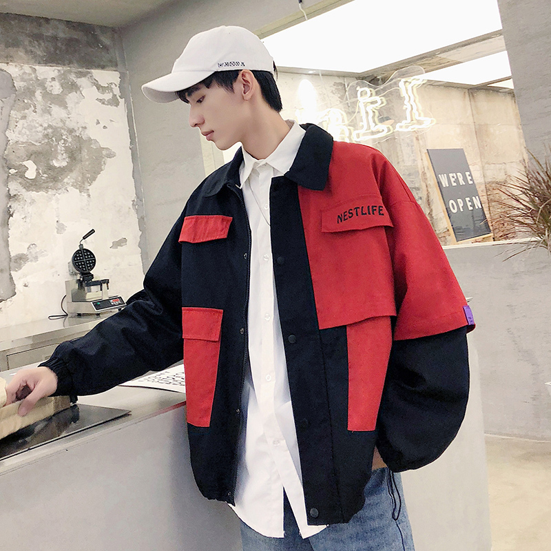 Jacket Men Streetwear Autumn Casual Fashion New Hip-Hop Man Tooling Wild Loose Contrast-Color