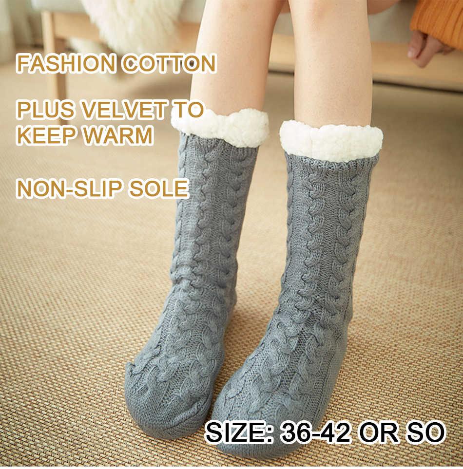 ผู้หญิงฤดูหนาว WARM ถุงเท้าผ้าฝ้ายถักลื่น Super Thicken ถุงเท้าสาว Plus กำมะหยี่อุ่นหญิงถุงเท้า Dropshipping