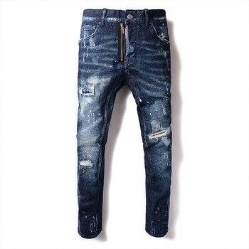 New Men's Hole Jeans Print Feet Nine Pants Skinny Jeans Men Streetwear Ripped Jeans for Men Hip Hop Blue Men Clothes 2020 Denim