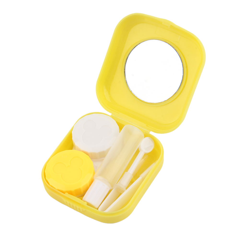 Plastic Portable Mini Contact Lens Case Outdoor Travel Contact Lens Holder Container With Mirror Easy Carry For Eyes Care