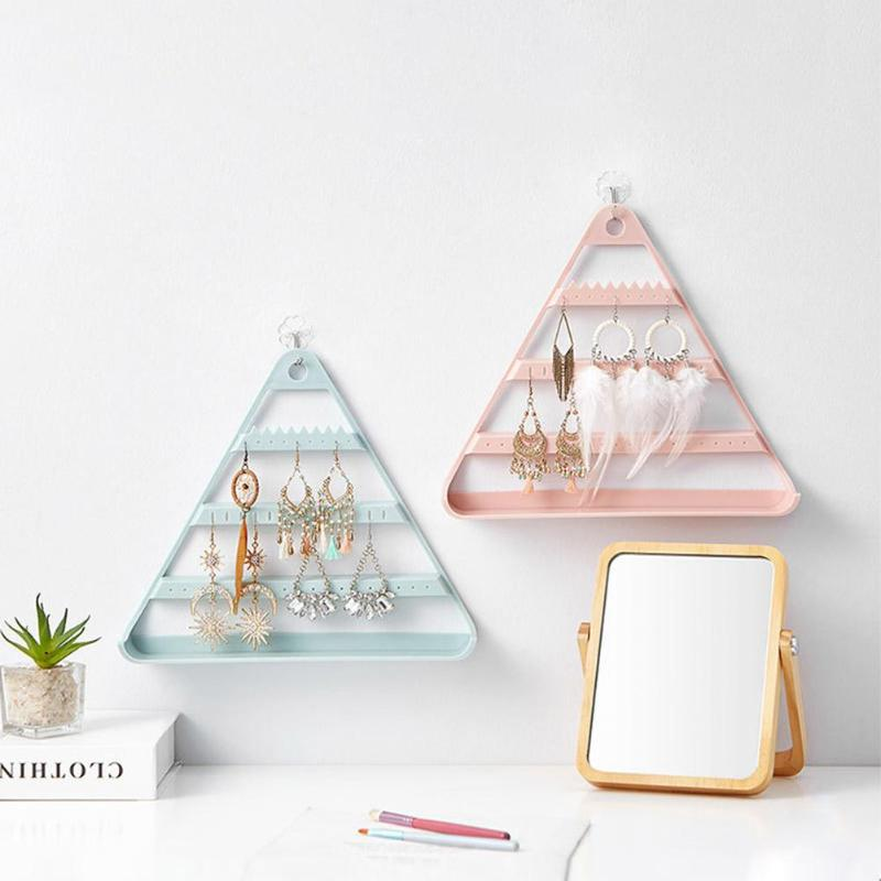Triangle Jewelry Storage Rack Stable ABS Shelf Wall Hanging Hold Bracelet Earring Necklace Organizer Display Accessories