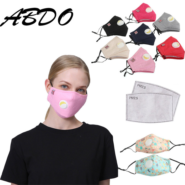 4pcs New Kpop Cotton Black Gray Valve Mask Mouth Face Masks Anti PM2.5 Dust Maske Washable Reusable Mouth Cover PM2.5 Filter