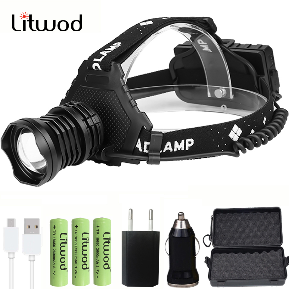Litwod 2064Z20 The Most Powerful XHP90 Led Headlamp Headlight 32W Zoom 18650 Power Bank Flashlight Head Lamp