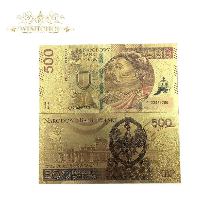 1pcs Agradável Ouro Notas Notas Poland 500 Bill PLN em 24k Banhado A Ouro Réplica Para A Coleta de Dinheiro De Papel