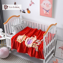Liv-Esthete Cartoon Elephant Baby Blanket Kids Flannel Active Printing Throw Portable Travel Cover For Mom Dad