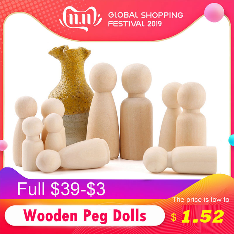 10pc 55mm Peg Dolls Wood Family Dolls Kids DIY Toys Christmas Gifts Handmade Wooden Blank Children'S Goods Boy And Girl Doll Toy