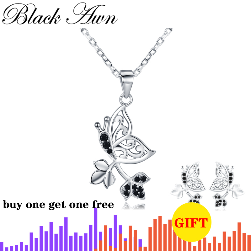 BLACK AWN  Genuine 925 Sterling Silver Elegant Women's Necklaces Pendants Natural Butterfly Sterling Silver Jewelry KN044