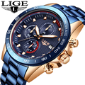 LIGE, новые часы, мужские Модные Спортивные кварцевые часы, мужские часы, брендовые роскошные часы с календарем, Бизнес водонепроницаемые час...