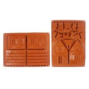 Image 5 - 2 יח\סט 3D חג המולד Gingerbread בית סיליקון עובש שוקולד עוגת עובש מטבח DIY ביסקוויטים עוגת אפיית כלים 22x16cm