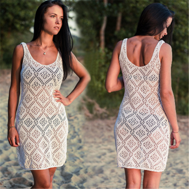 Europe And America Beige White Knitted Dress Hollow Out Knit Crochet Sexy Backless Beach Skirt Holiday Skirt Bikini Blouse