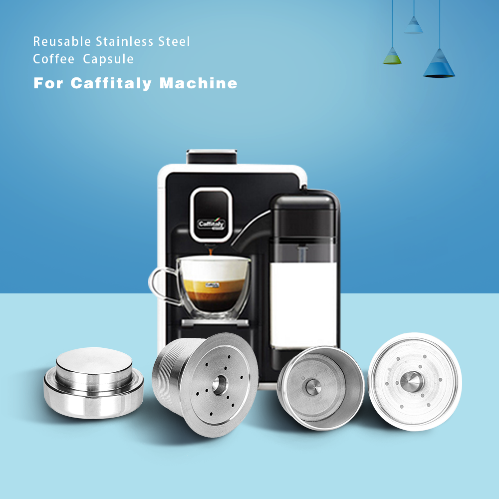 Stainless Steel Caffitaly Coffee Reusable Capsule Wacaco Minipresso CA Maker Refillable Coffee Filter For Tchibo Cafissimo ALDI