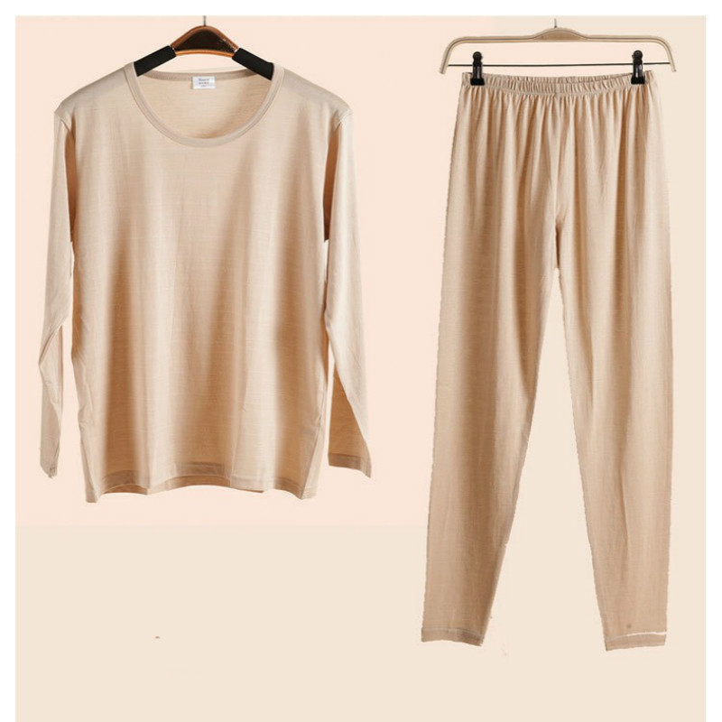 Autumn and Winter New Silk and Cotton Comfortable Men's Round Neck Breathable Warmth and Thin Underwear Set Qiuyi Long Trousers