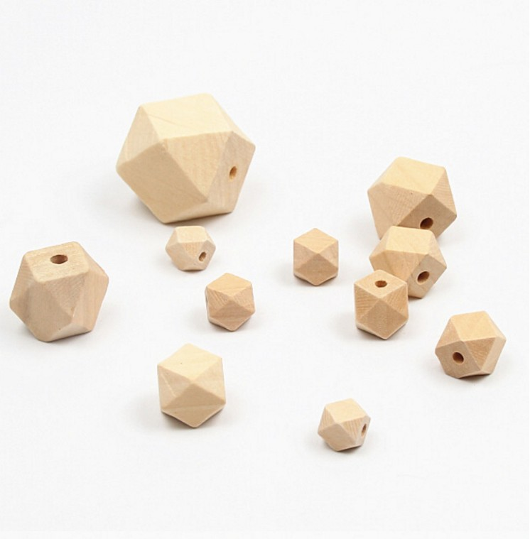 Fine Quality Unfinished Wooden Teething Beads Wood Teethers Hexagon Beads For Baby Care Toys Jewelry Making