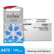 120 PCS Rayovac Extra Hearing Aid Batteries Zinc Air 675A 675 A675 PR44 For Hearing aid