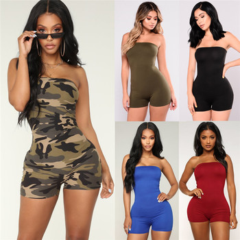 Off shoulder Women Romper mini playsuits Sexy Bodycon Club Casual Fitness Strappy Tube Sleeveless Jumpsuits Outfits Summer set strappy open shoulder jumper
