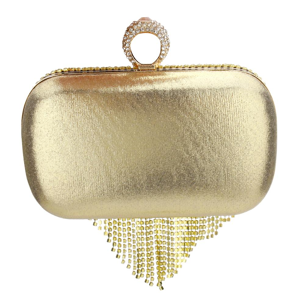 Rhinestone Tassels Ring Clutch Bag women Vintage shoulder Clutches purse Female Sliver Fashion Party Wedding chain Evening Bags in Top Handle Bags from Luggage Bags
