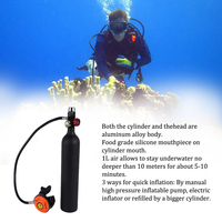 Scuba Oxygen Cylinder Diving Air Tank1L Scuba Regulator Diving Respirator with Gauge Snorkeling Breathing Equipment