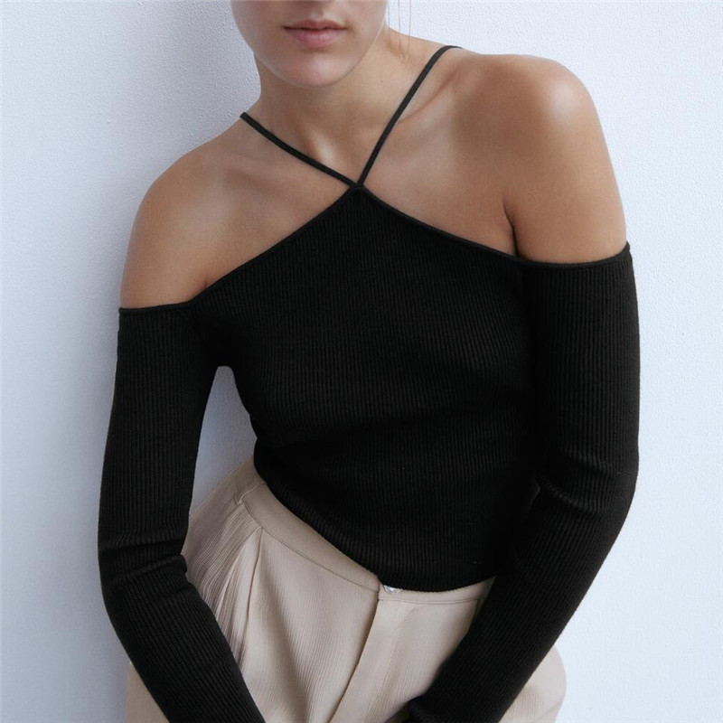 BLSQR Stylish Halter Without Shoulder Sweater Stretchy Design Long Sleeve Female Chic Knitted Tops Girl Sweaters