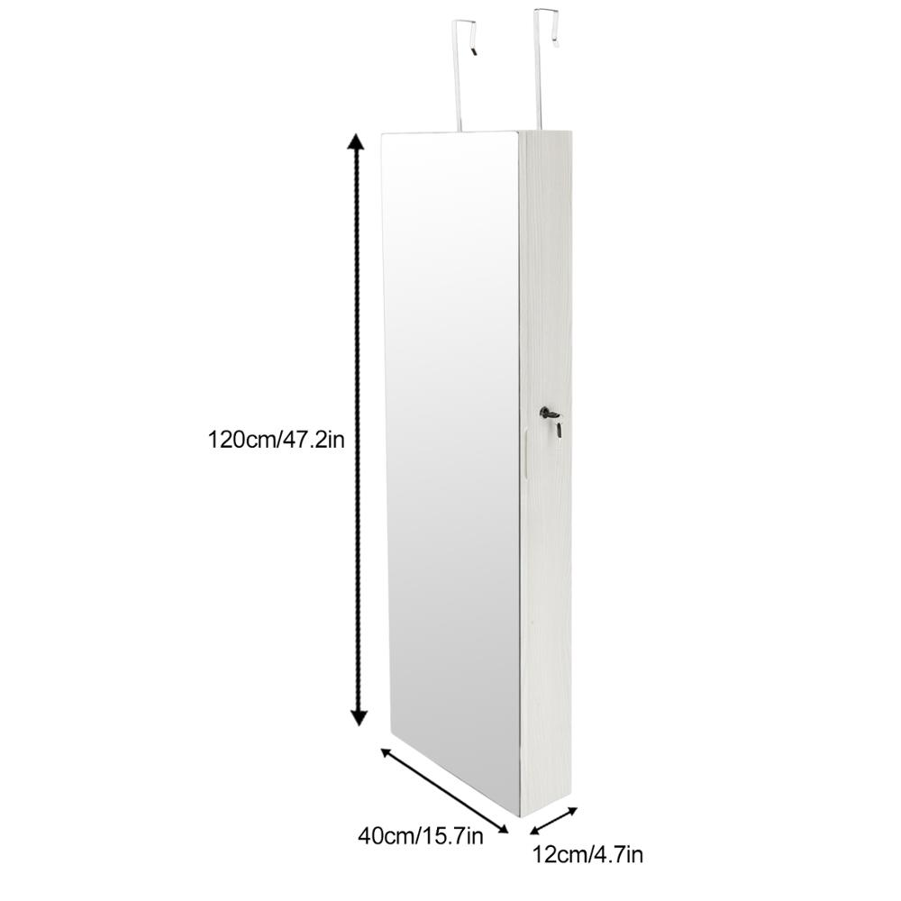 Mirror Jewelry Cabinet Full Screen Display jewelry Armoire Organizer 47 2 H Lockable Wall Door Mounted