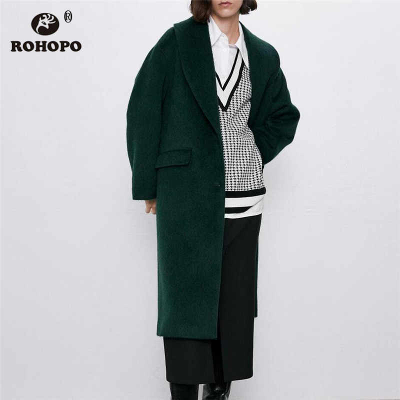 ROHOPO Deep Green Lapel Collar Midi Blend coat Waist Flaps Pockets Single Breast Straight Winter Keep Warm Soft Overcoat #2749