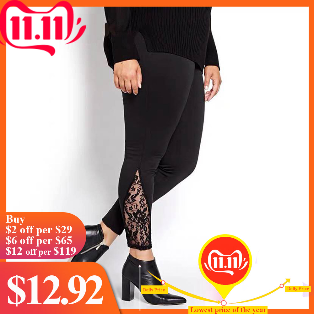 Fashion Plus Size Lace Panel Sheer High Elastic Waisted Leggings Stretchy Soft Solid Leggings Versatile Skinny Normal Bottoms