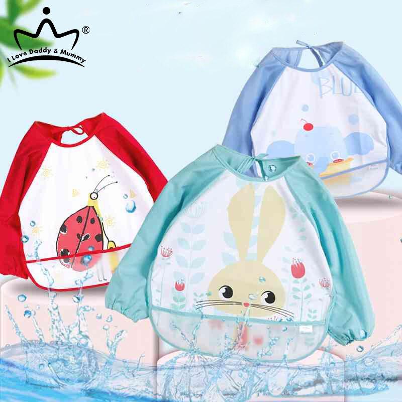 Нагрудники для маленьких мальчиков, милый мультяшный водонепроницаемый нагрудник для младенцев, фартук с длинным рукавом для девочек, нагр...