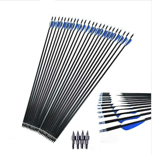 <font><b>3</b></font>/6/12/15 PCS <font><b>400</b></font> Carbon Fiber Arrow 4 Inch Blue And White Palette Compound Hunting Bow Arrow and Archery / Replaceable Arrow image