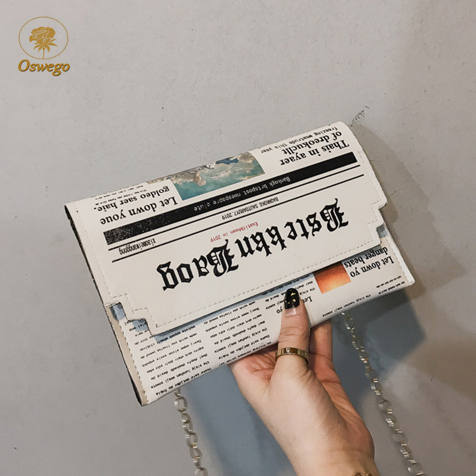 Oswego Envelope-Bag Clutch-Bags Chain Newspaper Joker-Shoulder Personality Women Inkjet title=