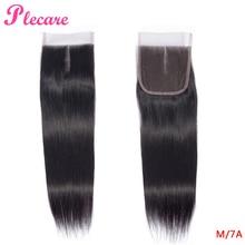 Plecare, 4*4, бразильские прямые волосы, 8-20 дюймов, натуральный цвет, средний коэффициент, не Реми, человеческие волосы для наращивания