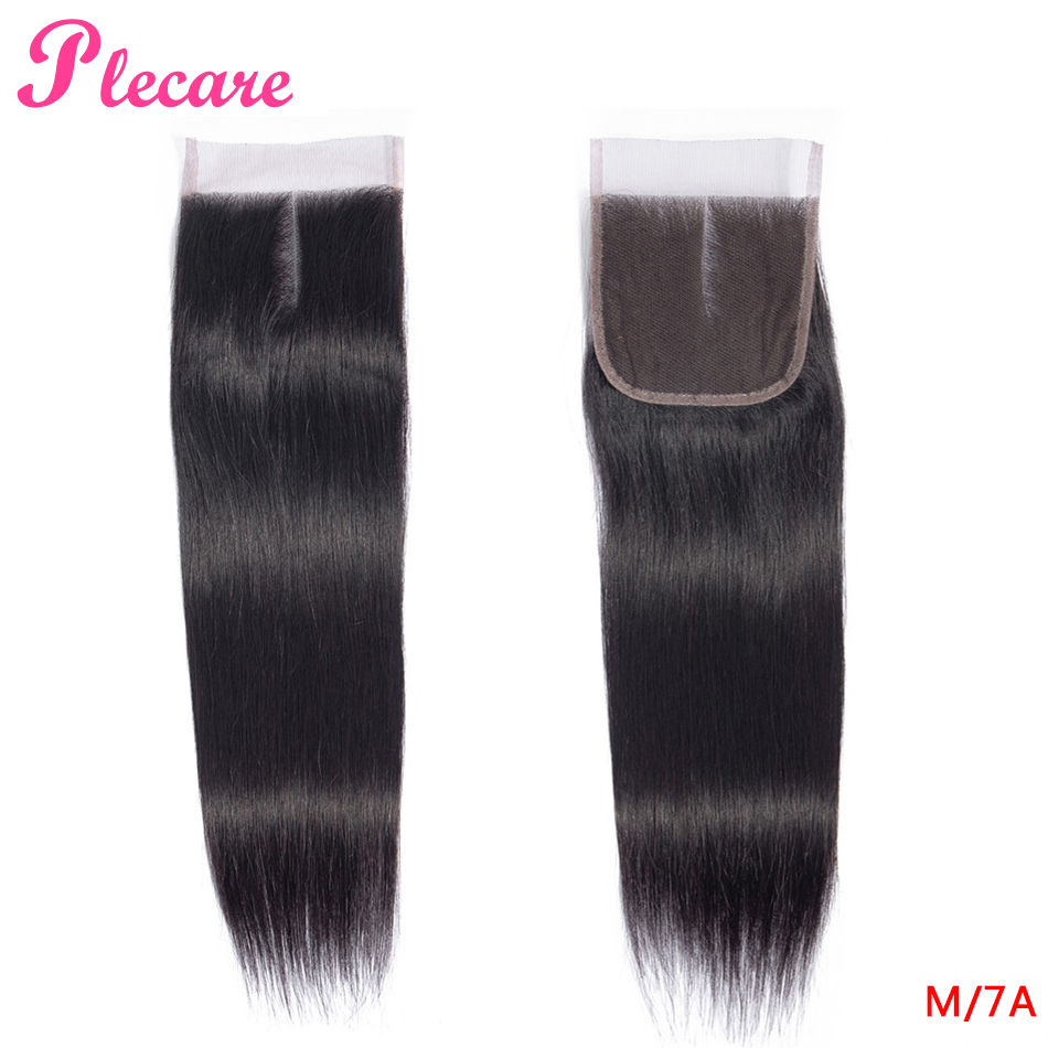 Plecare  4*4 Lace Closure Brazilian Straight 8-20 Inch Natural Color Middle Ratio Non-remy 100% Human Hair Extensions