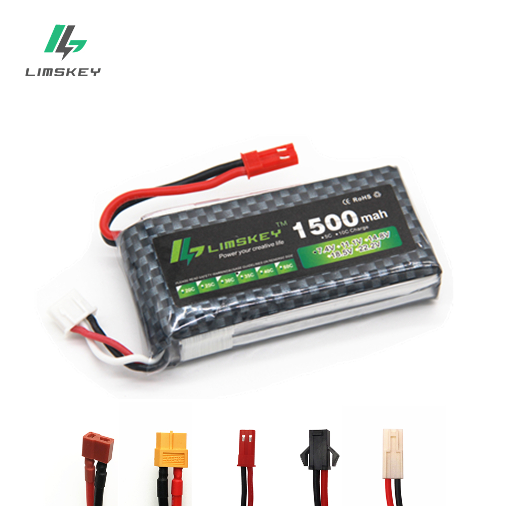 High Rate 7.4V 1500mAh Lipo Battery For RC Helicopter Parts 2s Lithium battery 7.4 v 30C Airplanes battery with JST/T/XT60 Plug(China)