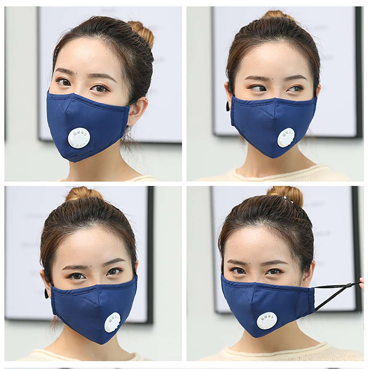 1PCS PM 2.5 Mask 10PCS Activated Carbon Filter Respirator Anti Pollution Cotton Washable Reusable Mouth Mask + Breathing Valve 1