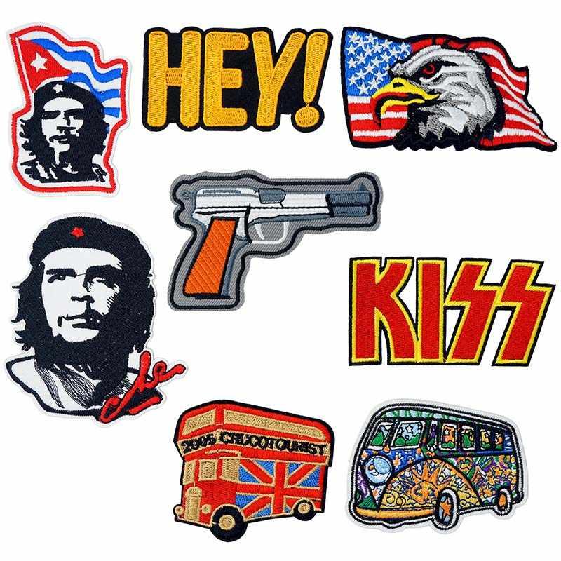 Che Guevara Eagle Vlag Bus Geborduurde Ijzer op Patches voor Kleding DIY Strepen Kleding Patchwork Sticker Custom Applique