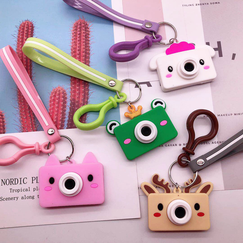 Children Toys Simulation Camera Keychain Creative Camera Keychains Silicone Stereoscopic Pendants Bag Accessories Birthday Gifts