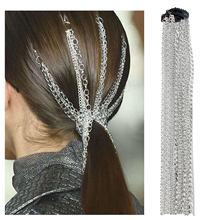 European and American Jewelry Silver Plated tassel hair chain Street Photo fashion tassel chain headdress women's head chain