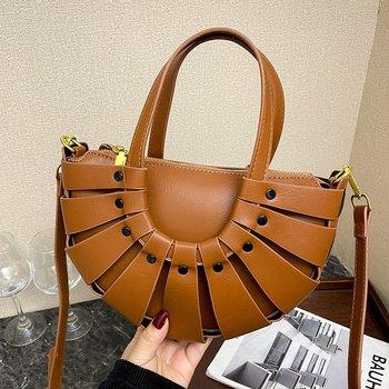 Fashion Circular Leather Hollow Weaving Purse 19