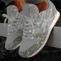 2020 New Casual Women Bling Sneakers Flat Ladies Vulcanized Shoes Female Height Increase Chunky Sneaker Running Sparkling Shoes