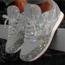 2020 New Casual Women Bling Sneakers Flat Ladies Vulcanized Shoes Female Height